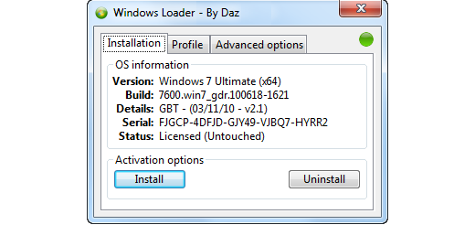Windows 7 Loader v2.0.7 - DAZ