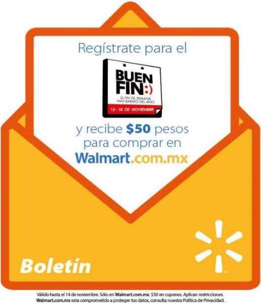 Walmart te da $50 pesos para el Buen Fin 2013 si registras tu correo